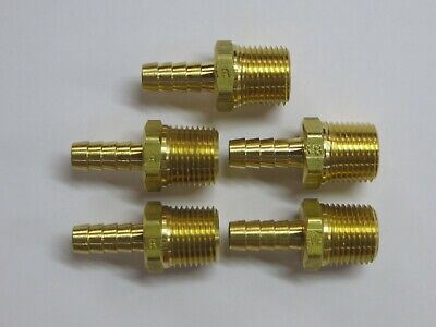 Lot Of 5 12 Npt Male X 38 Hose Barb Brass Fitting Parker New