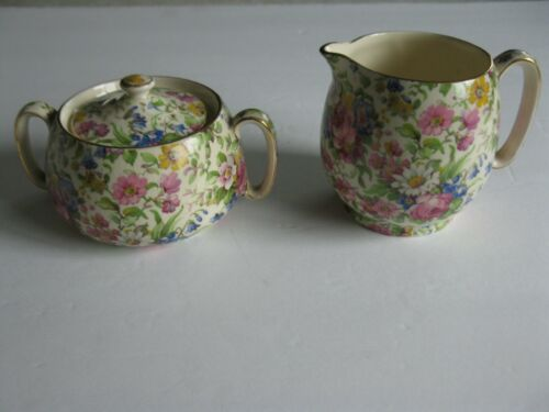 Vintage Chintz Royal Winton Grimwades Creamer and Sugar Bowl with Lid Summertime