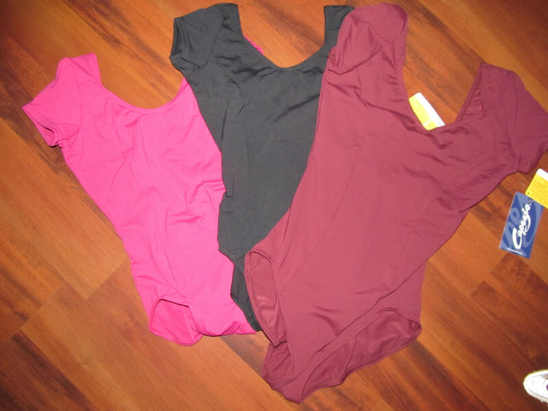 New Cap Sleeve Dance Leotard 3 Color Choice Capezio Adult Sizing Great Price