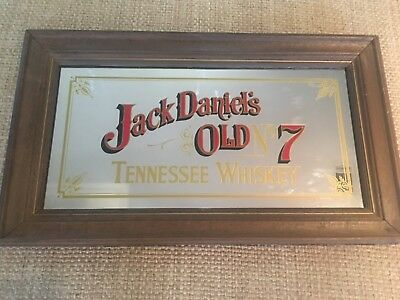 VINTAGE JACK DANIELS OLD NO 7 TENNESSEE WHISKY WOOD WOODEN BAR MIRROR