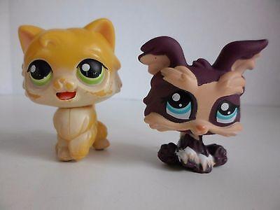 Littlest Pet Shop 1473 Dark Purple Tan Yorkie Dog 78 Yellow Cat moving tongue