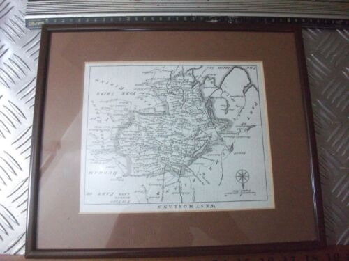 Framed 18th Century engraving  map of Cumberland 26.5 x 31.5  map 17 x 20