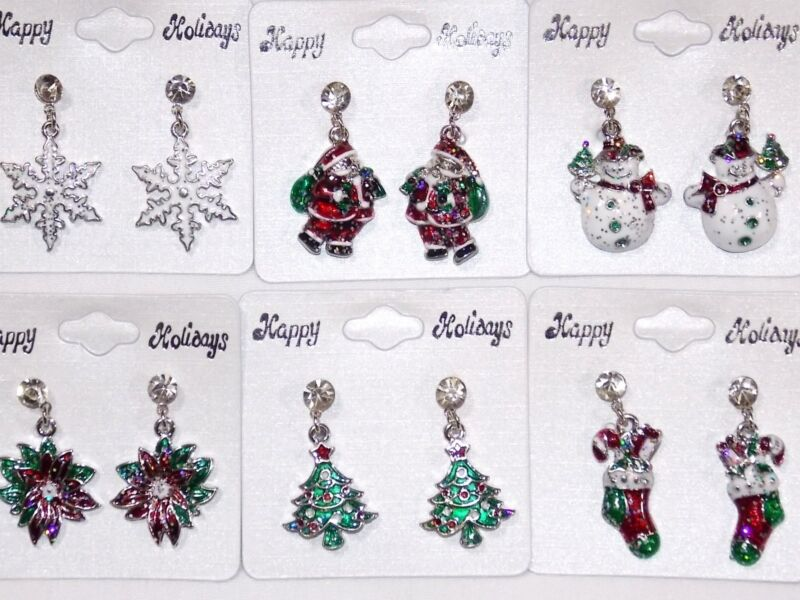 Wholesale 12pc Assorted Christmas Snowflake Stocking Dangle Earrings -USA Seller