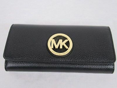 Michael Kors Black Leather MK Gold Logo Fulton Flap Continental Carryall Wallet