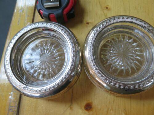 6 Vintage Crystal Glass & Sterling Coasters Ashtrays - ESTATE ANTIQUE 925 STERLI