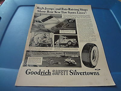 "1940 Goodrich Tires Vintage Magazine Ad ""High Jumps and Hair-Raising stops..."""