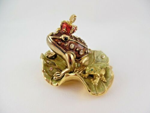 FROG PRINCE & BABY KING SWAROVSKI CRYSTALS ENAMEL HINGED TRINKET BOX on LILY PAD