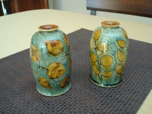 Rare Pair Royal Doulton Cabinet Vases Natural Foliage Ex Cond