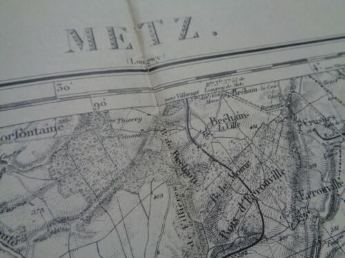 """WW1 (1916) French Map """"METZ"""" (LORRAINE) with a BATTLE of VERDUN Connection"""