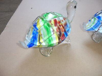 29418 2 Schildkröten mundgeblasen Figuren 70er Jahre handmade glass turtles 14cm