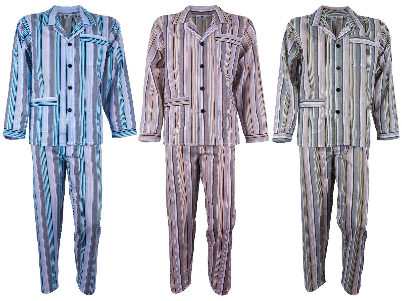 Herren Batist Pyjama gestreift von SOUNON® - 3 Farben (Gr. 48 bis Gr. 60)