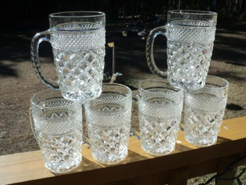 Anchor Hocking Clear Glass Wexford (SET Of 6) Very Good Used Cond.