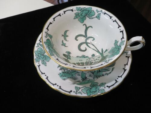 Vintage Royal Chelsea English Bone China GREEN Willow Cup Saucer Hand Painted NR