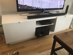 White BYAS TV Bench from IKEA, $90