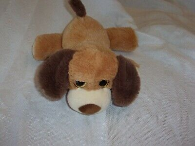 BEST MADE TOYS BROWN PLUSH tan  CREAM puppy dog laying down baby lovey