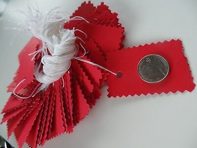 100 Assorted Strung Ruby Red Garage Salestoresale Tags Hand Made With String