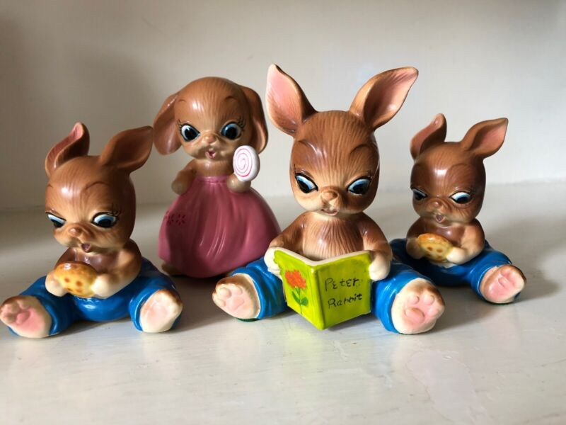 4 VINTAGE BIG EYE BUNNY RABBIT ANTHROPOMORPHIC CERAMIC FIGURINES EASTER DECOR
