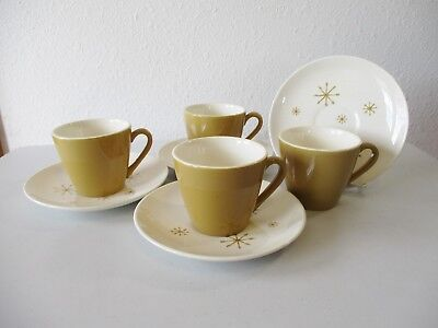 4 Royal China Star Glow Cups & Saucers Mid-Century Modern