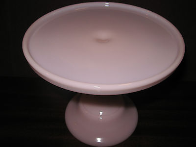 Pink milk Glass cake serving stand / plate platter pedestal raised crown tuscan