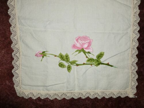 Antique Society Silk Table runner Art Deco Nouveau ROSES BIRDS Hand Embroidery
