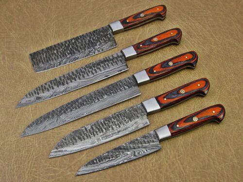 5 piece Kitchen knife set, Hand forged hammered Damascus steel Orange Black