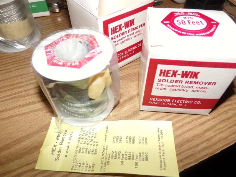 """New Hexacon HEX-WIK 8885 1/8"""" Desoldering SOLDERING Braid 50"""