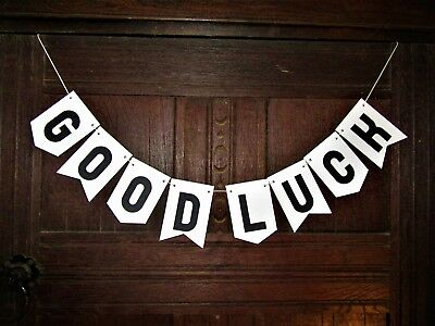 Celebrate in style! Black and White Handmade GOOD LUCK Bunting/Banner/Garland.