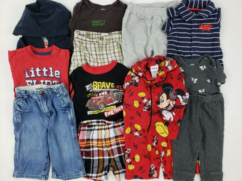 12 Months Boy Oshkosh Carters Disney Etc Clothes Lot Outfit Jeans Hoodie Pj