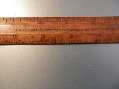 12 INCH WOODEN RULER IMPERIAL MEASURES THOMAS HOPE MANCHESTER MID 20TH CENTURY