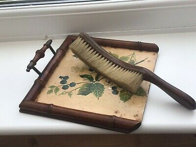 Antique Floral Flower Crumb Tray With Handle