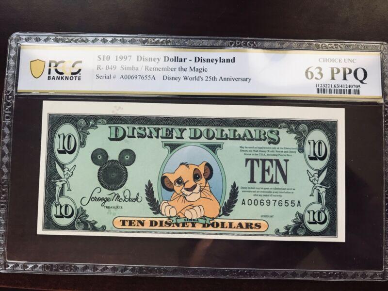 DISNEY DOLLAR 1997 SIMBA $10 A00697655A PCGS 63 PPQ CHOICE UNCIRCULATED
