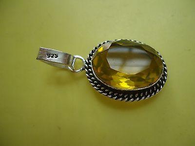 Vtg 925 Sterling Silver Overlay Pendant W/ Bail Lemon Quartz? Gemstone   20P.