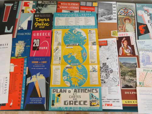 24 Greek Travel Brochures & Maps 1950s Greece Athens Mykonos Crete Delphi Corfu