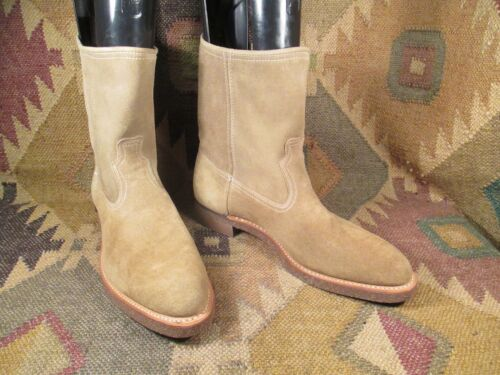 PECOS Style Tan Rough out Suede  Leather Boots SIZE US -12 D Made In USA