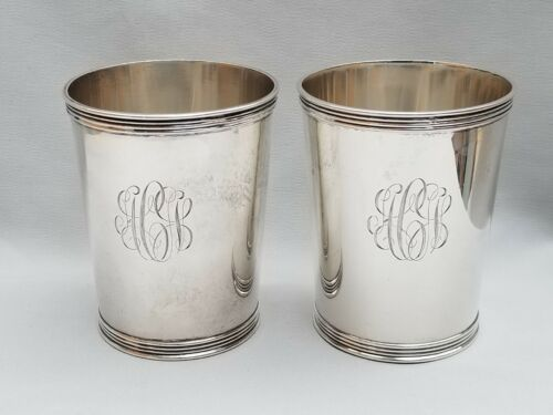 2 STERLING Silver JULEP CUPS by Selbert Frankfort, Kentucky #3759 ~ MONO