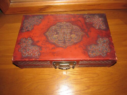 ANTIQUE CHINESE WEDDING BOX - MADE OF LEATHER WITH RED GLAZING
