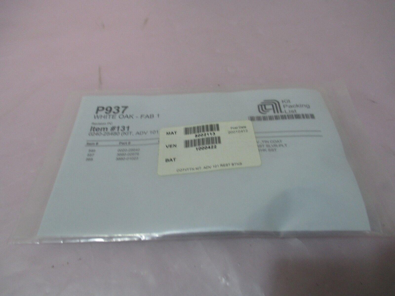 AMAT 0240-25480 Kit, ADV 101 Rest BTNS-FULL CVRG Ped, 0020-29640, 420999