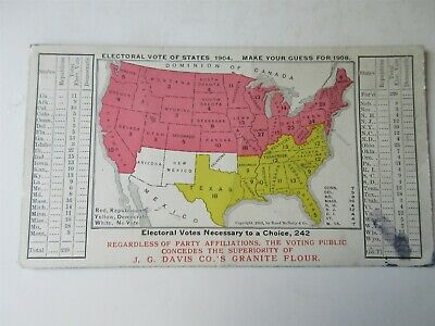 vintage Electoral Vote 1904 make Your Guess for 1908 map Ink Blotter Card