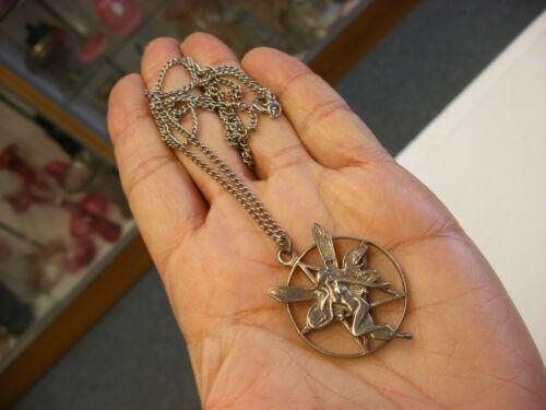Vtg Necklace Unmarked Nude Fairy & Pentagram Supernatural Occult Symbol Pendant