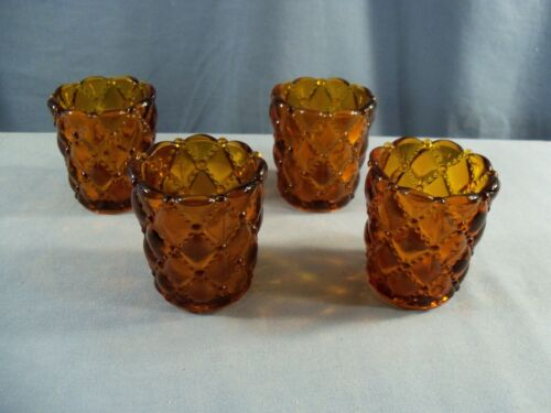 Lot of 4 Amber Glass Diamond Quilt Votive Candle Toothpick Holders