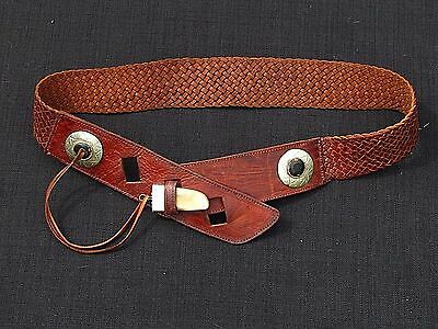 Beautiful Classy Moroccan Tribal Flair Woven Leather Belt With Horn Buckle Latch
