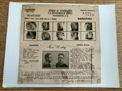 """Authentic Original 1933 George MACHINE GUN Kelly Post Office Wanted Poster 8""""x8"""""""
