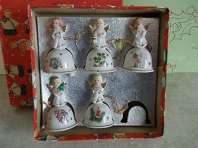 5 VTG.CHRISTMAS  BELLS~ANGELS- JAPAN W/BOX VTG. MID-CENTURY PORCELAIN GOLD WINGS