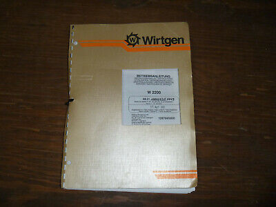 Wirtgen W2200 Cold Planer Milling Owner Operator Maintenance Manual User Guide