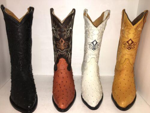 Mens, Cowboy, Boots, Ostrich, Print, Leather, Western, Rodeo, Botas, Liga, de, Avestruz, ,