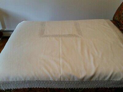 "Linen - Look  Tablecloth Lace Trim 120""L x 70""W"