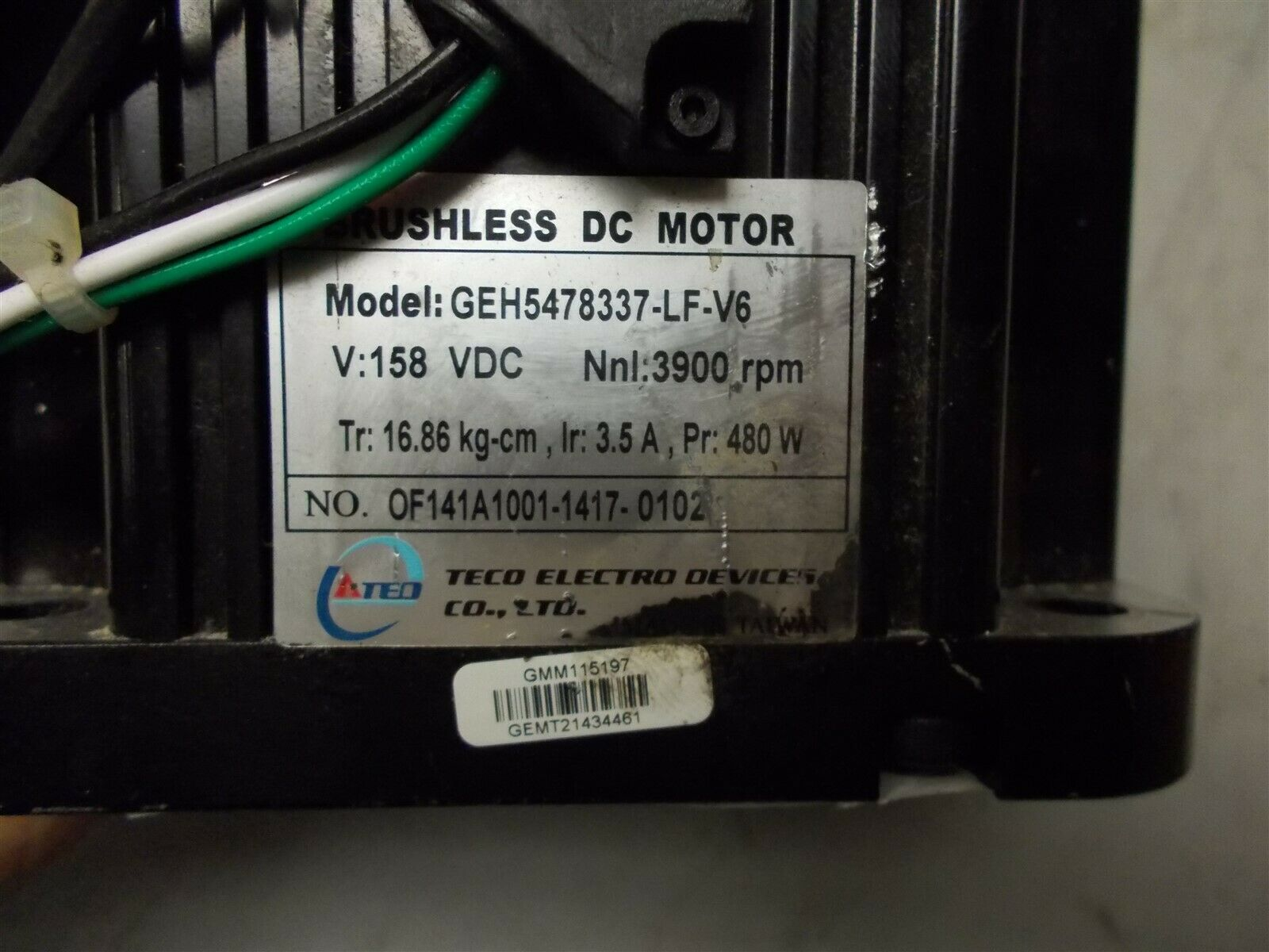 TECO ELECTRO DEVICES GEH5478337-LF-V6 Brushless 158VDC Motor 3900RPM - $150.00