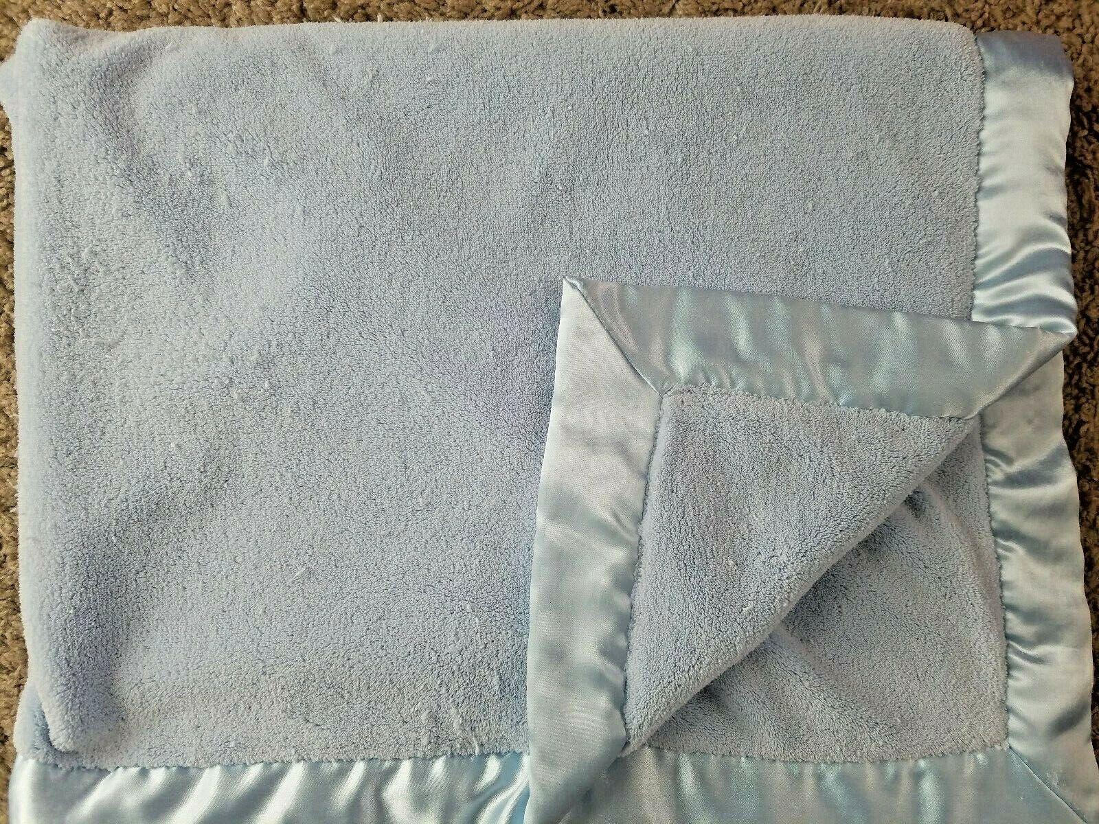Koala Baby Toys R Us Baby Blanket Solid Light Blue Satin - $30.43