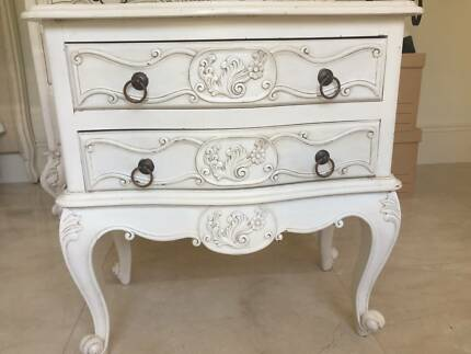 French provincial mahogany white washed antique side table