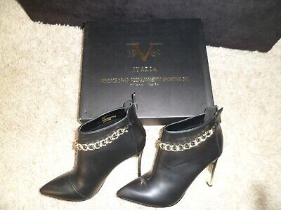 VERSACE ARABELLA BOOTS 6 GOLD HEEL AND CHAIN DETAIL NEW IN BOX